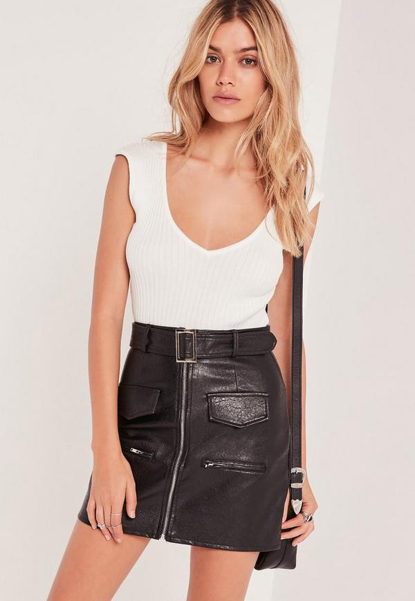 Plunge Sleeveless Bodysuit White