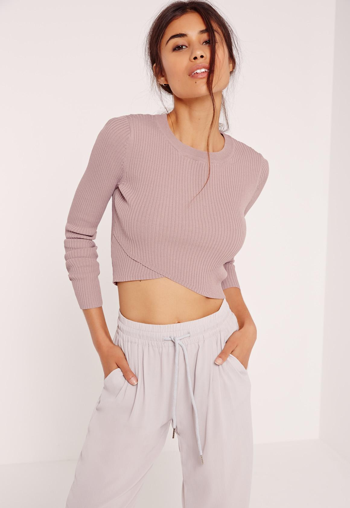 Lilac Wrap Front Cropped Sweater | Missguided