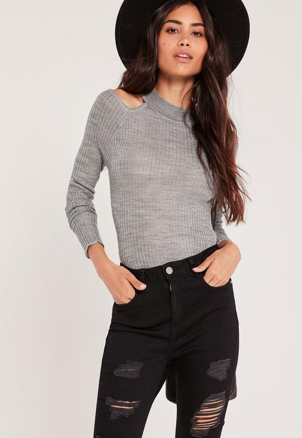 Cold Shoulder Skinny Rib Jumper Grey Marl