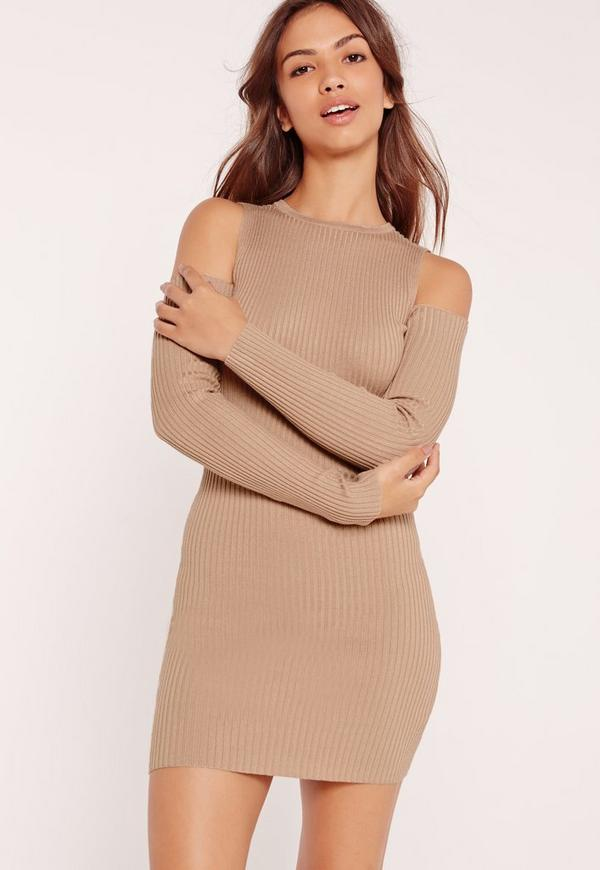 Cold Shoulder Ribbed Knitted Mini Dress Camel