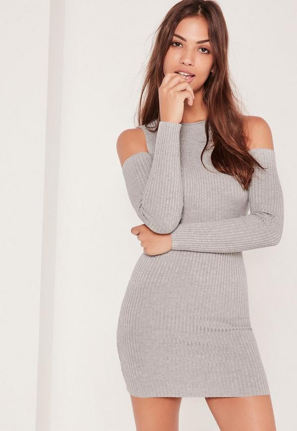 Cold Shoulder Ribbed Mini Dress Grey