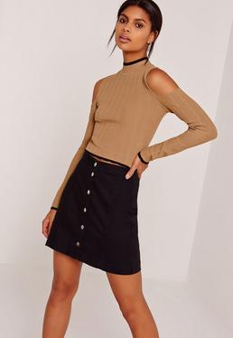 Cold Shoulder Rib Tipped Crop Top Camel
