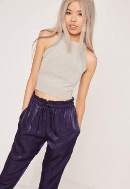 Soft Knit Racer Sleeveless Jumper Grey