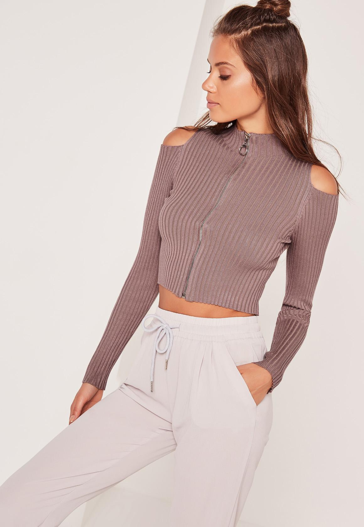 Purple Full Zipper Cold Shoulder Cropped Sweater | Missguided