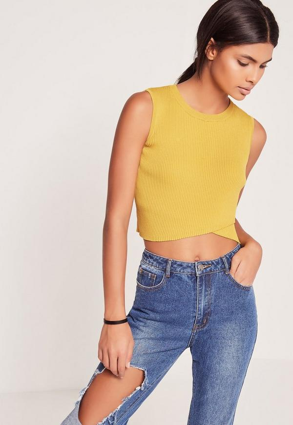 Wrap Front Sleeveless Crop Top Chartreuse Green