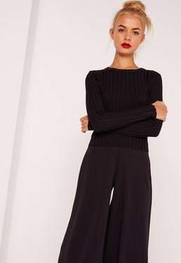 Black Extreme Rib Basic Cropped Sweater