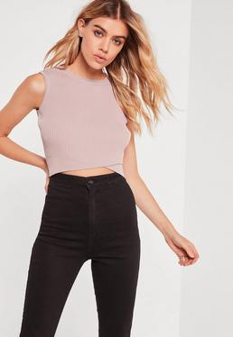 Purple Wrap Front Sleeveless Crop Top