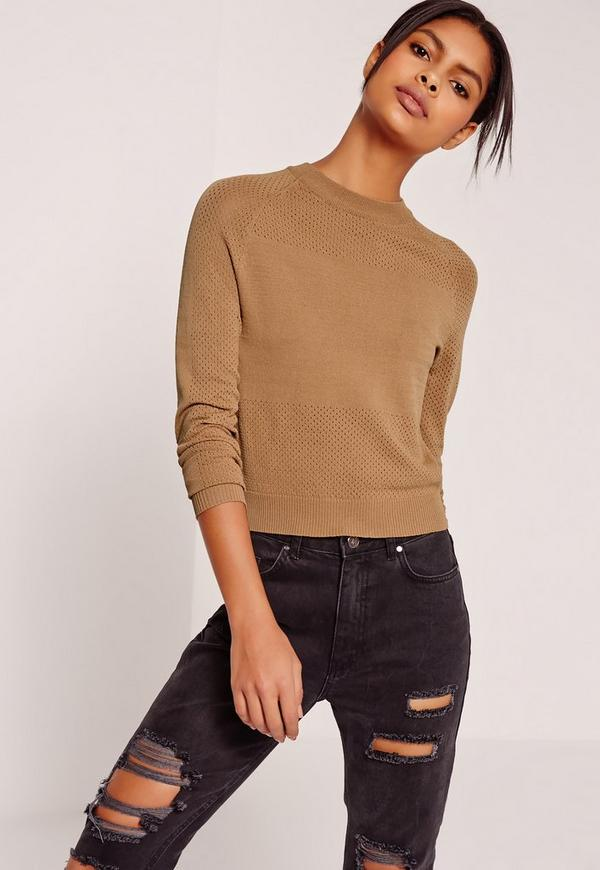 Mesh Detail Crew Neck Jumper Brown