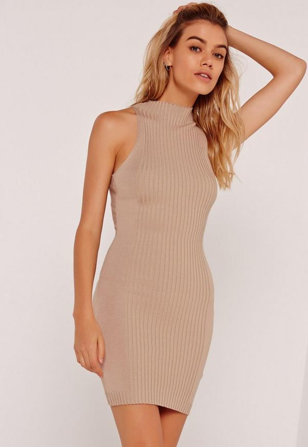 Ribbed Detail Sleeveless Knitted Mini Dress Nude