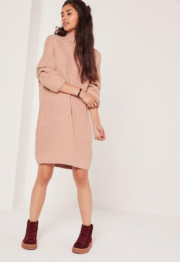 Oversize Mini Sweater Dress Pink | Missguided
