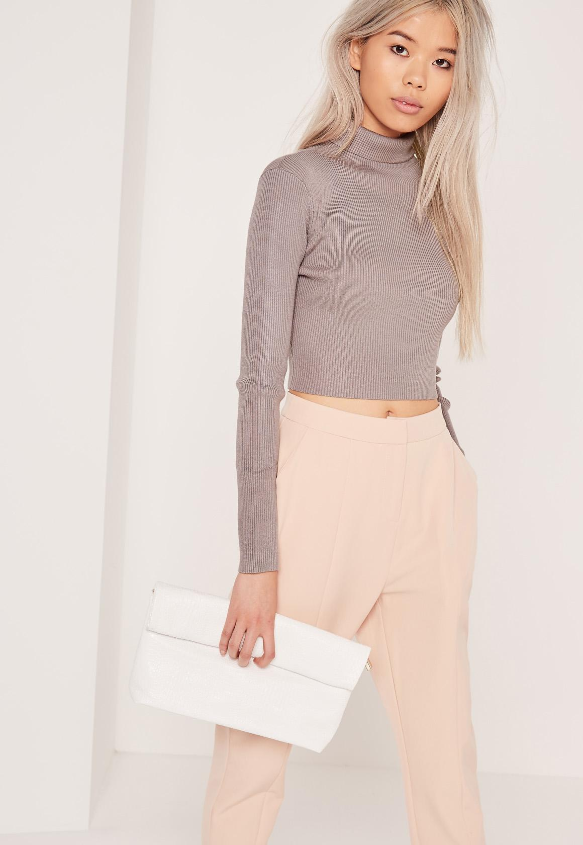 Grey Basic Roll Neck Long Sleeve Cropped Sweater | Missguided