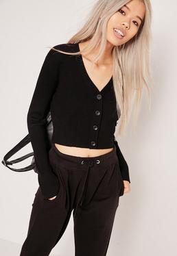 Basic Cropped Longsleeve Cardigan Black
