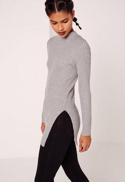 Basic Longline Rib Tunic Grey