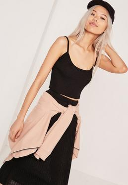 Strappy Rib Crop Top Black