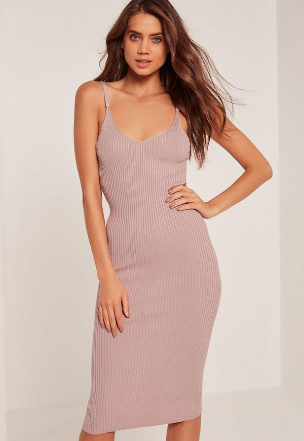 Purple Strappy Ribbed Midi Knitted Dress