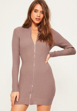 Purple Zip Up Ribbed Mini Jumper Dress