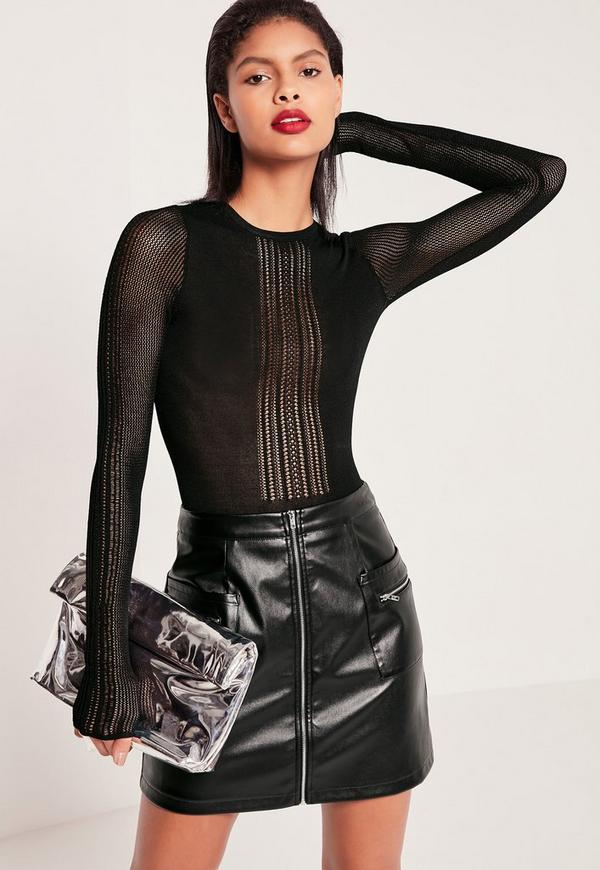 Mesh Panel Knitted Bodysuit Black
