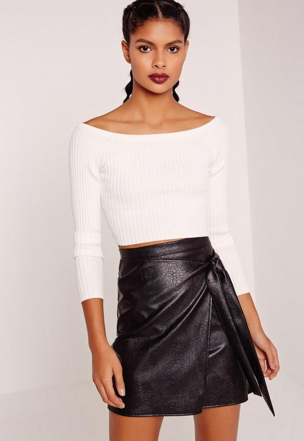 Basic Bardot Rib Crop Top White
