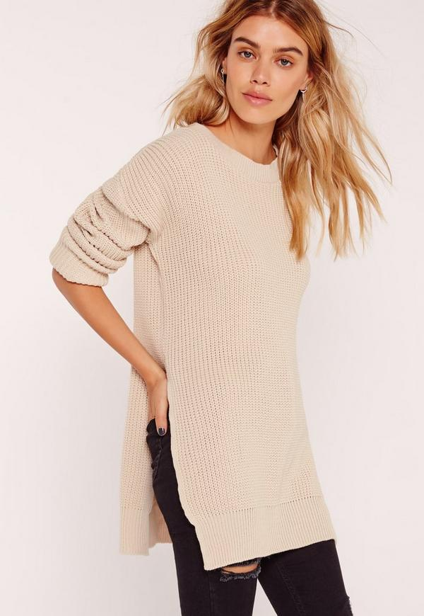 Side Split Crew Neck Jumper Camel