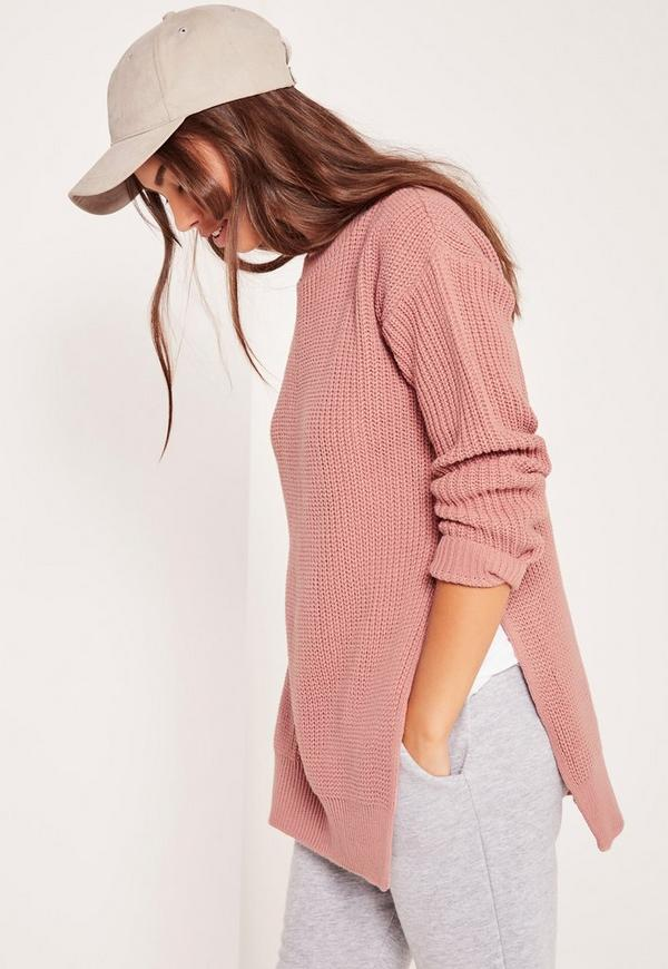 Side Split Crew Neck Jumper Pink
