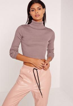 Basic Roll Neck Long Sleeve Crop Jumper Purple