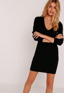 Black Basic V-Neck Mini Sweater Dress