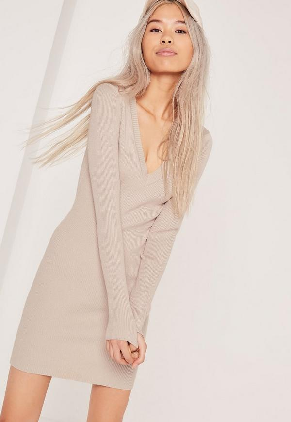 Basic V Neck Mini Jumper Dress Nude