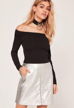 Bardot Ribbed Trim Basic Cropped Jumper Black