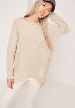 Distressed Off Shoulder Jumper Cream
