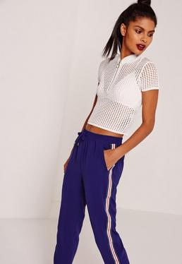 Zip Through Knitted Mesh T Shirt White