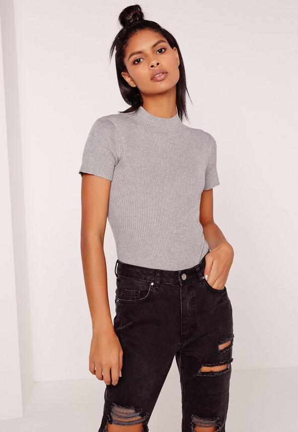 Basic Short Sleeve High Neck Bodysuit Grey