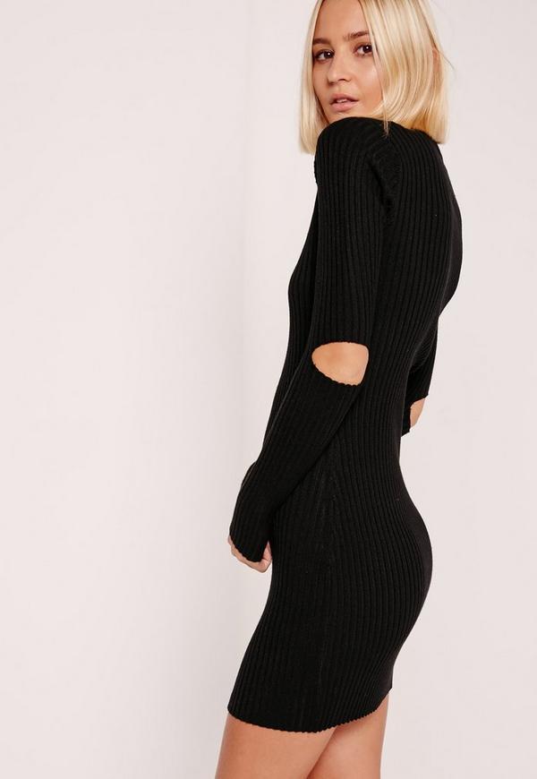 Elbow Slash Mini Dress Black
