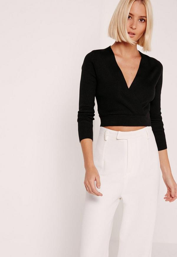 Black Long Sleeve Wrap Ribbed Cropped Sweater
