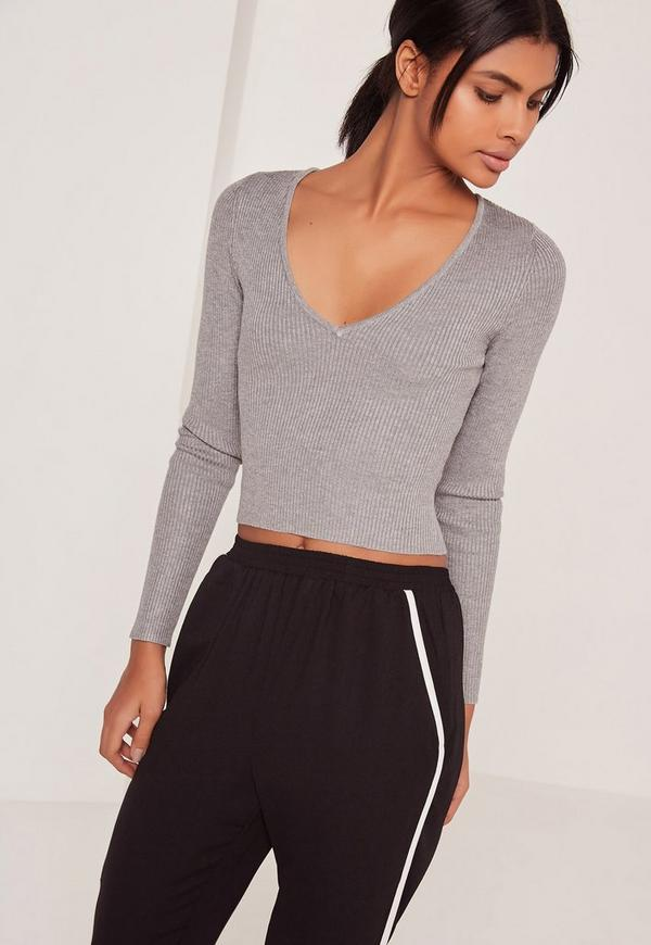 Basic V Neck Longsleeve Crop Jumper Grey