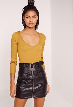 Basic V Neck Longsleeve Crop Jumper Yellow