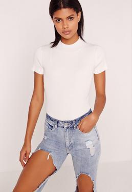 Basic Short Sleeve High Neck Bodysuit White