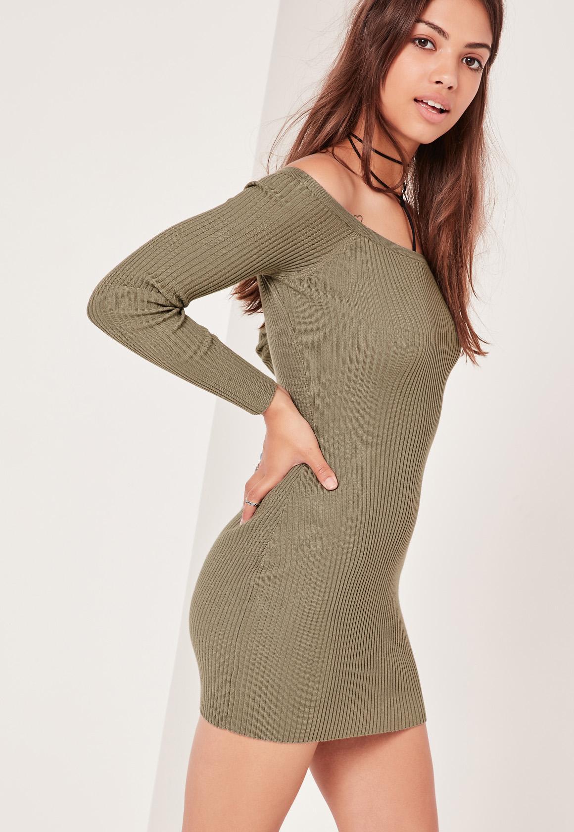 Khaki Ribbed Bardot Sweater Dress