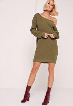 Avyn Off Shoulder Mini Dress Khaki