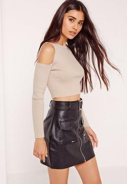 Cold Shoulder Crop Top Nude