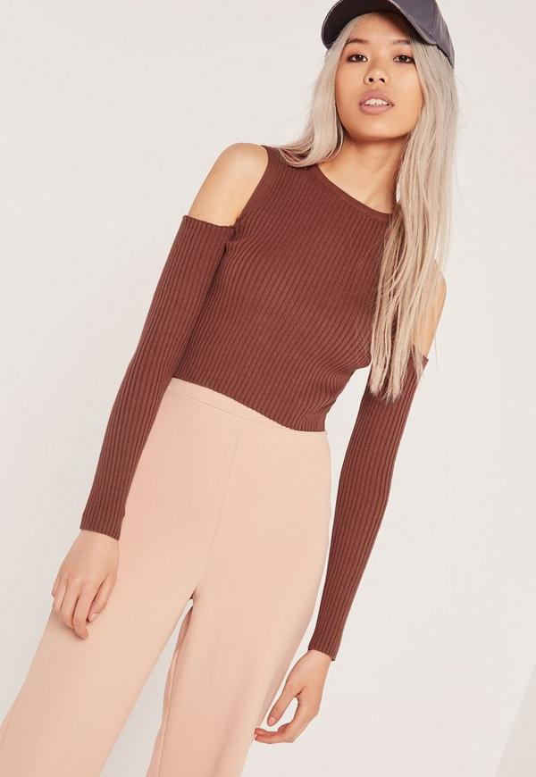 Cold Shoulder Crop Top Brown