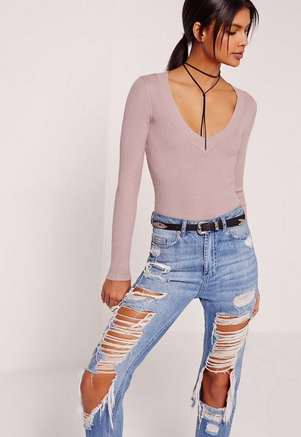 Plunge Bodysuit Purple