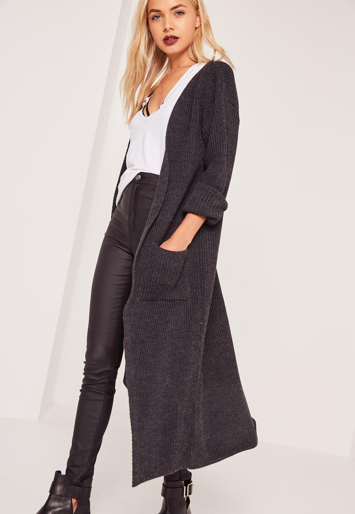 Maxi Cardigan Grey | Missguided