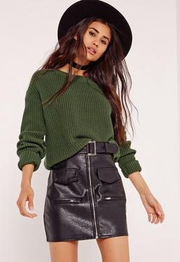 Turn Back Cuff Crop Jumper Khaki