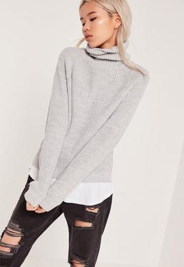 Grey Roll Neck Cropped Sweater