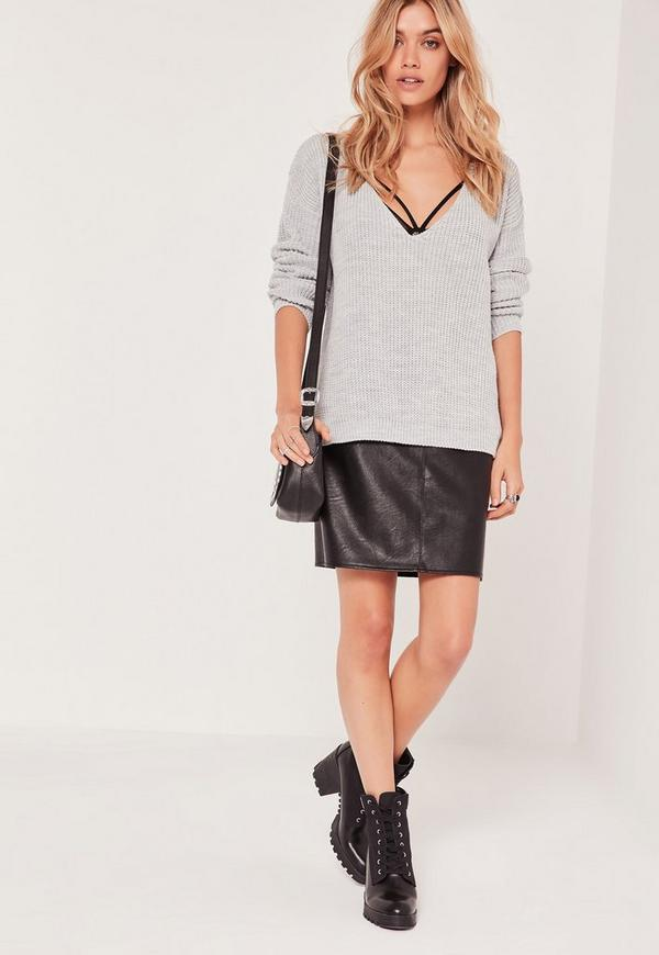V Neck Slouch Basic Jumper Grey