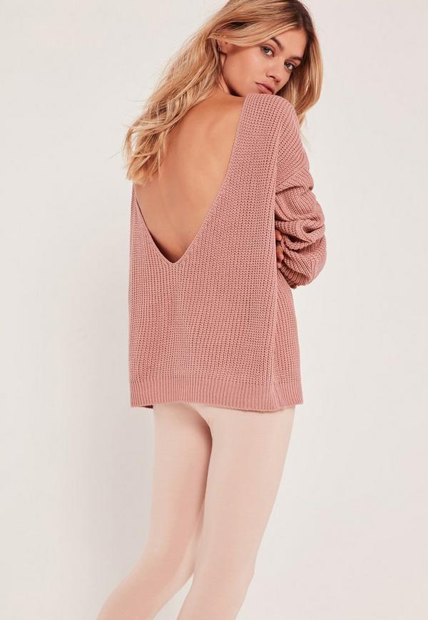 V-Neck Back Basic Jumper Pink