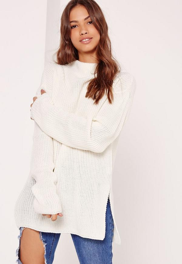 Side Split Jumper High Neck Cream