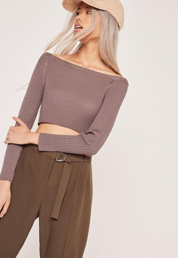 Basic Bardot Rib Crop Dark Purple