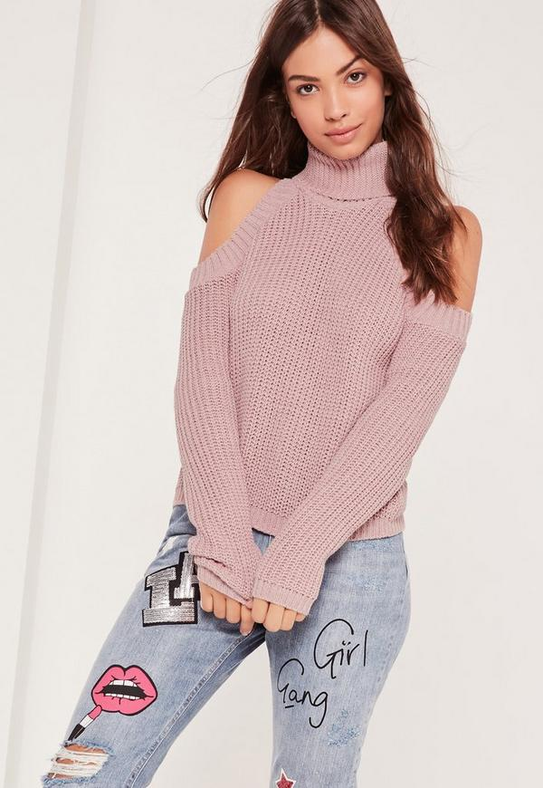 Roll Neck Cold Shoulder Jumper Pink