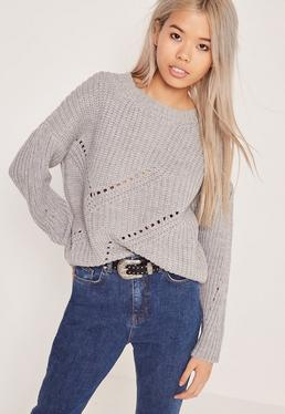 Grey Mini Cable Knit Sweater